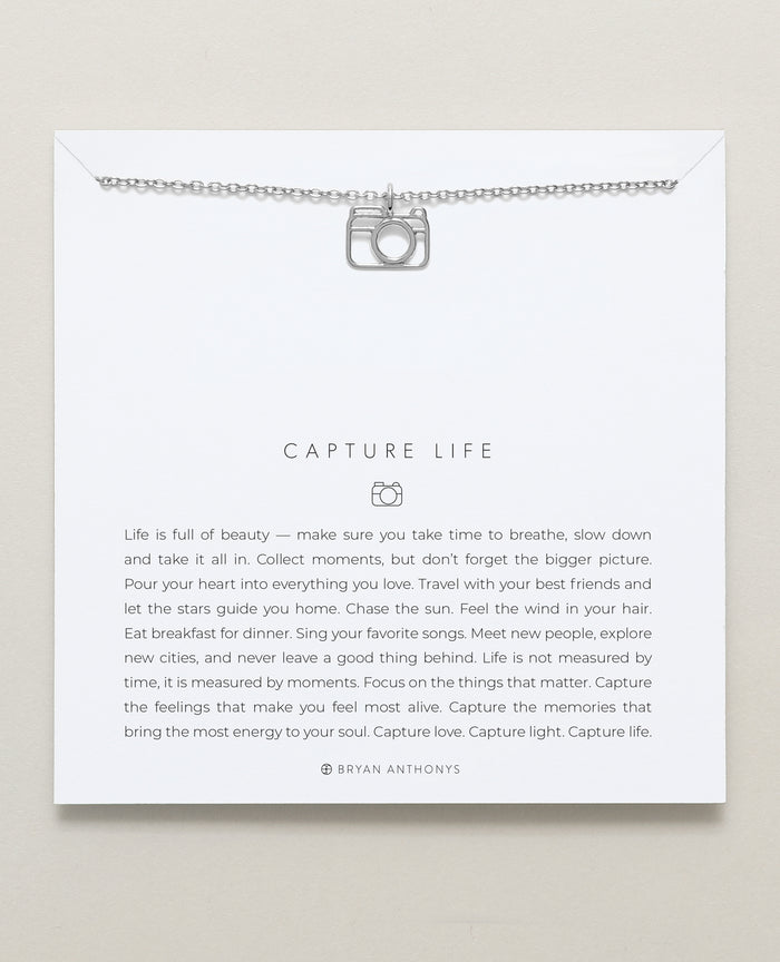 Bryan Anthonys dainty capture life camera necklace silver