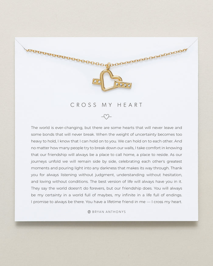 bryan anthonys cross my heart friendship necklace 14k gold
