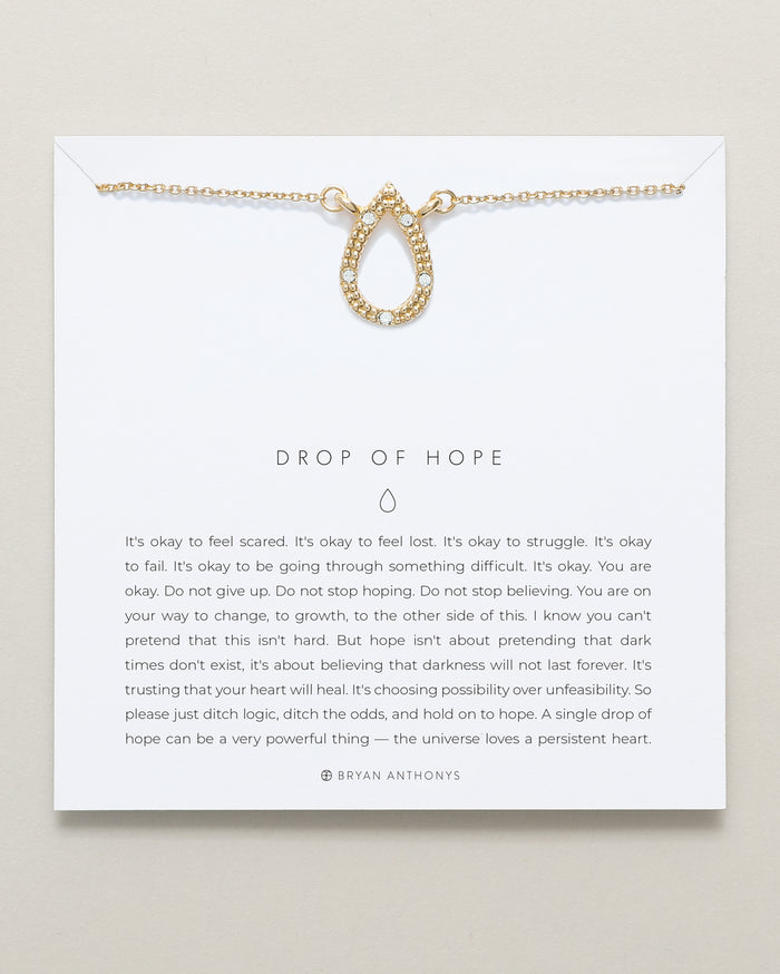 Bryan Anthonys dainty drop of hope necklace 14k gold