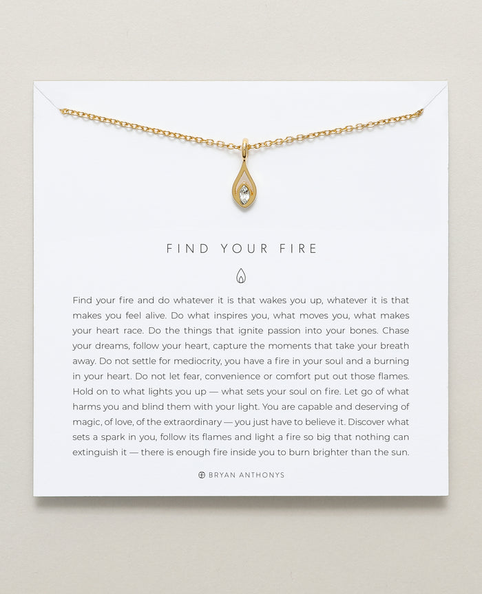 Bryan Anthonys dainty find your fire flame necklace 14k gold