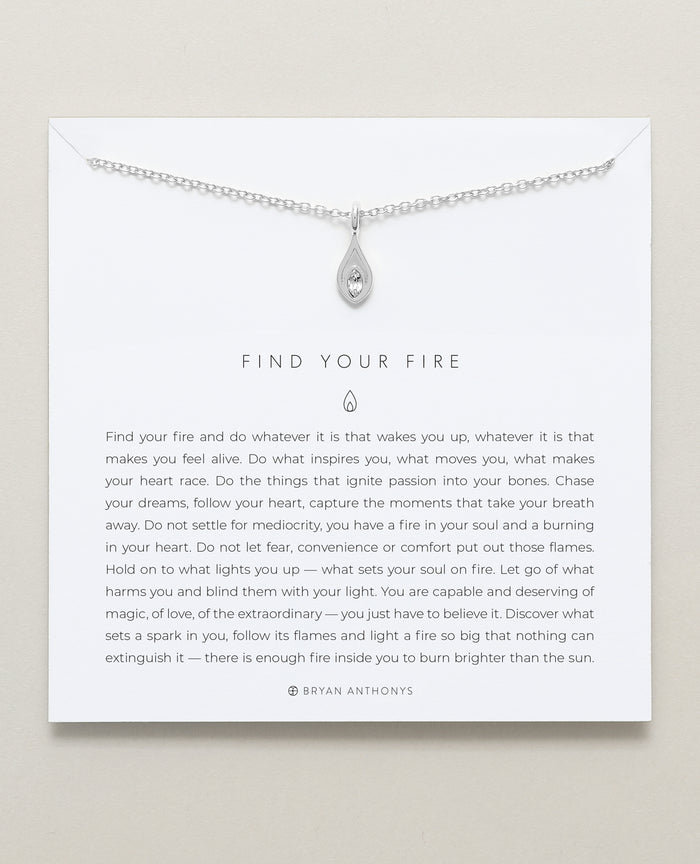 Bryan Anthonys dainty find your fire flame necklace silver