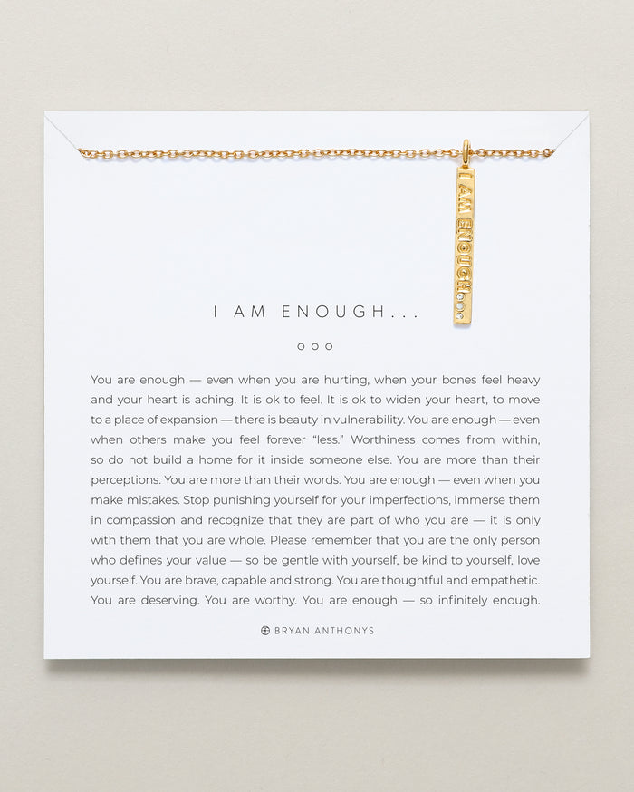 bryan anthonys the kindness campaign tkc i am enough necklace designs for a difference 14k gold