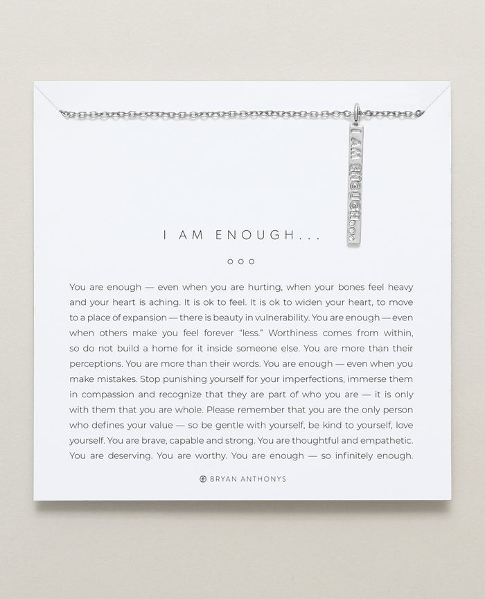 bryan anthonys the kindness campaign tkc i am enough necklace designs for a difference silver