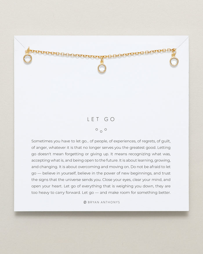 Bryan Anthonys Let Go Gold Choker With Crystals On Card