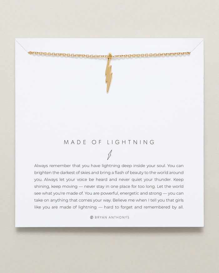 Bryan Anthonys dainty made of lightning bolt necklace 14k gold