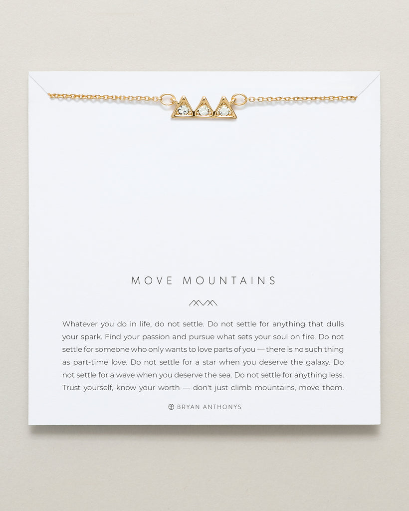 Bryan Anthonys dainty move mountains necklace 14k gold