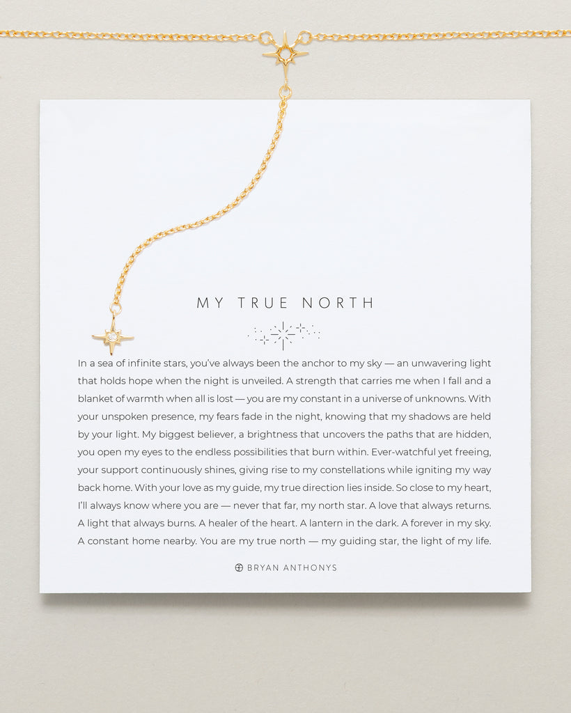Bryan Anthonys My True North Gold Necklace On Card