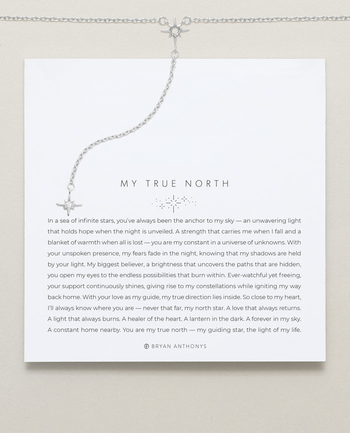 Bryan Anthonys My True North Silver Necklace On Card