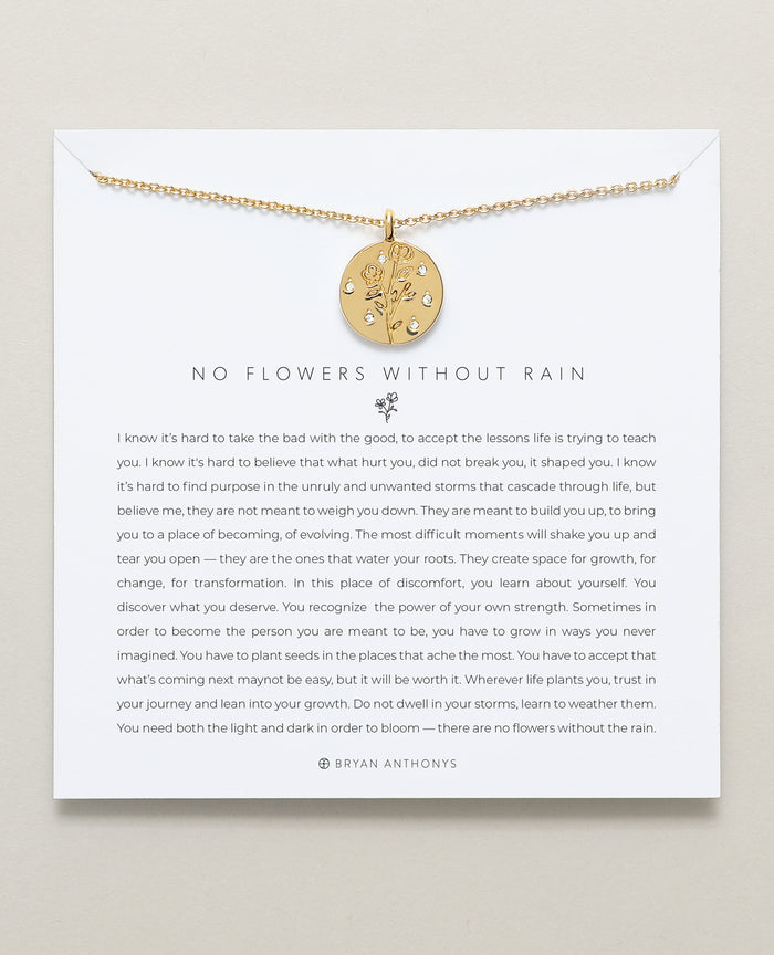 Bryan Anthonys dainty no flowers without rain necklace 14k gold