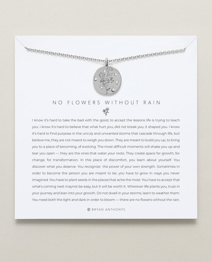 Bryan Anthonys dainty no flowers without rain necklace Silver