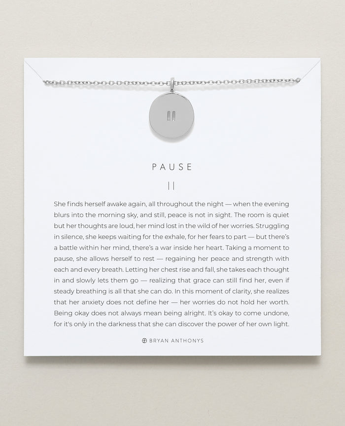bryan anthonys designs for a difference pause necklace anxiety give back silver