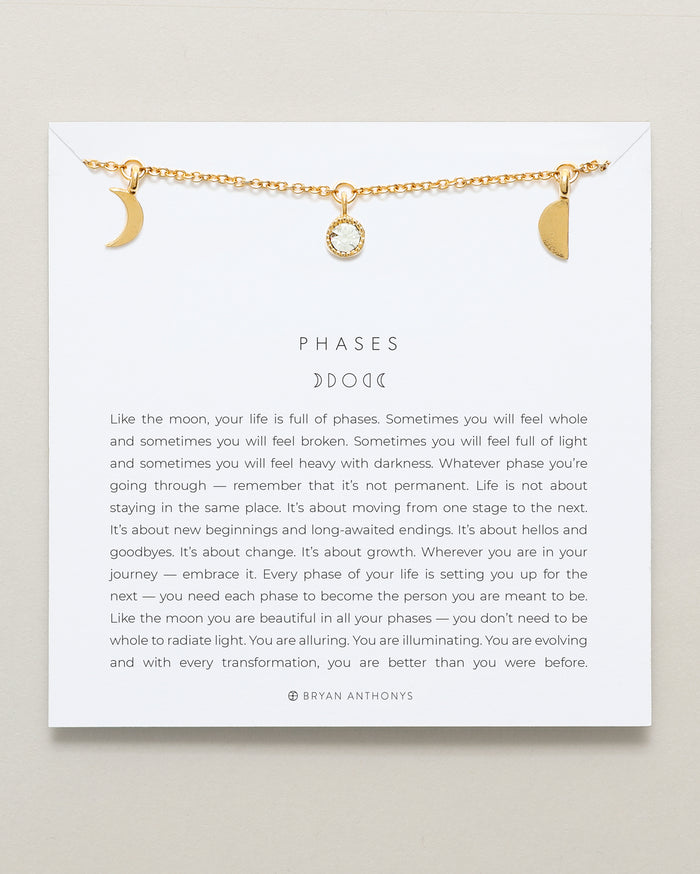 Bryan Anthonys Phases Gold Choker With Crystal On Card