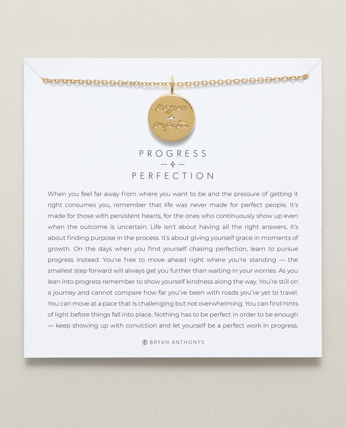Bryan Anthonys progress over perfection necklace mindful messages 14k gold
