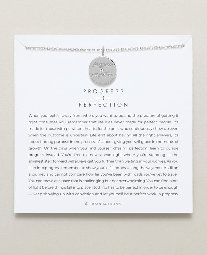 Bryan Anthonys progress over perfection necklace mindful messages silver
