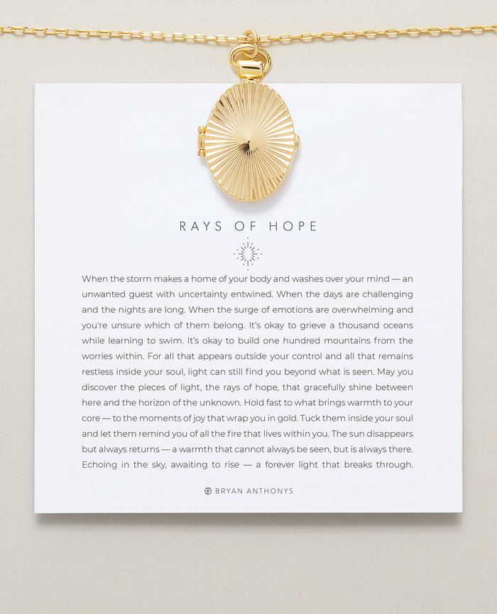 Bryan Anthonys Rays of Hope Gold Locket Necklace Designs for a Difference On Card