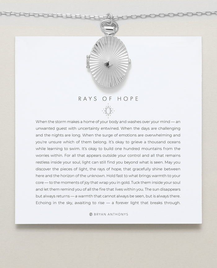 Bryan Anthonys Rays of Hope Silver Necklace On Card