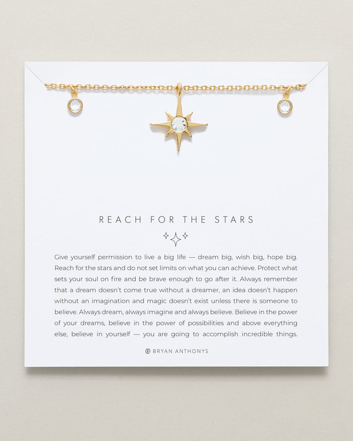 Bryan Anthonys Reach For The Stars Gold Choker With Crystals On Card
