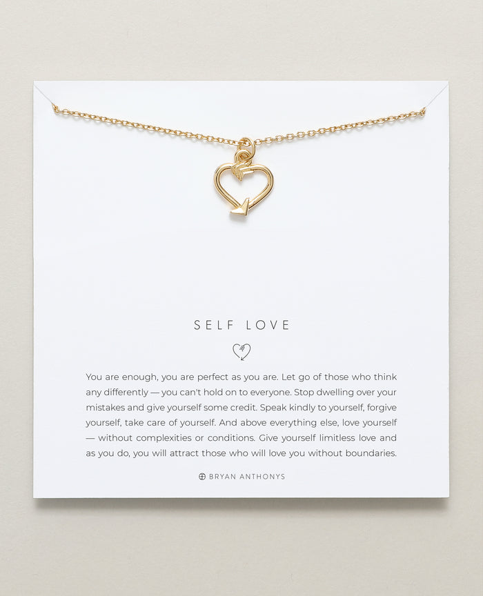bryan anthonys dainty self love necklace 14k gold