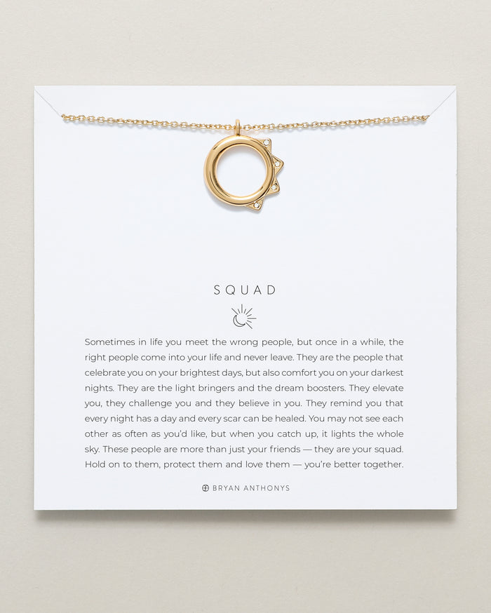 Bryan Anthonys Squad necklace dainty sun moon 14k gold