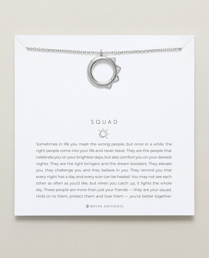 Bryan Anthonys Squad necklace dainty sun moon silver