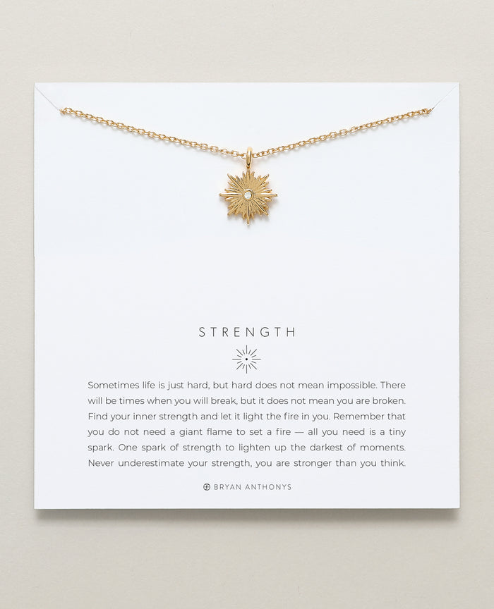 Bryan Anthonys dainty Strength spark necklace 14k gold