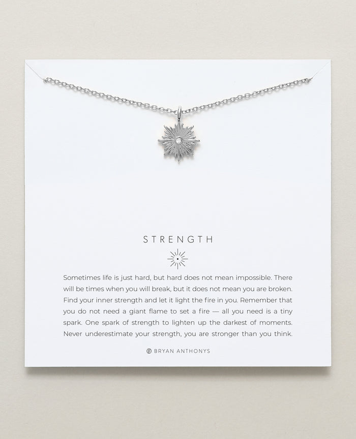 Bryan Anthonys dainty Strength spark necklace silver