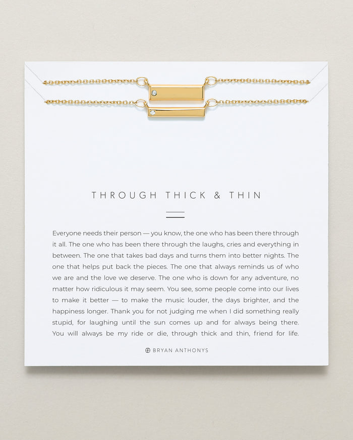 Bryan Anthonys Through Thick and Thin dainty necklace friendship set 14k gold