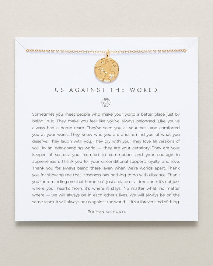 Bryan Anthonys dainty us against the world necklace 14k gold