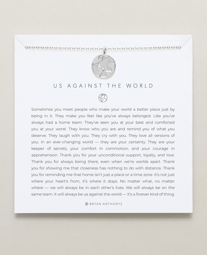 Bryan Anthonys dainty us against the world necklace silver