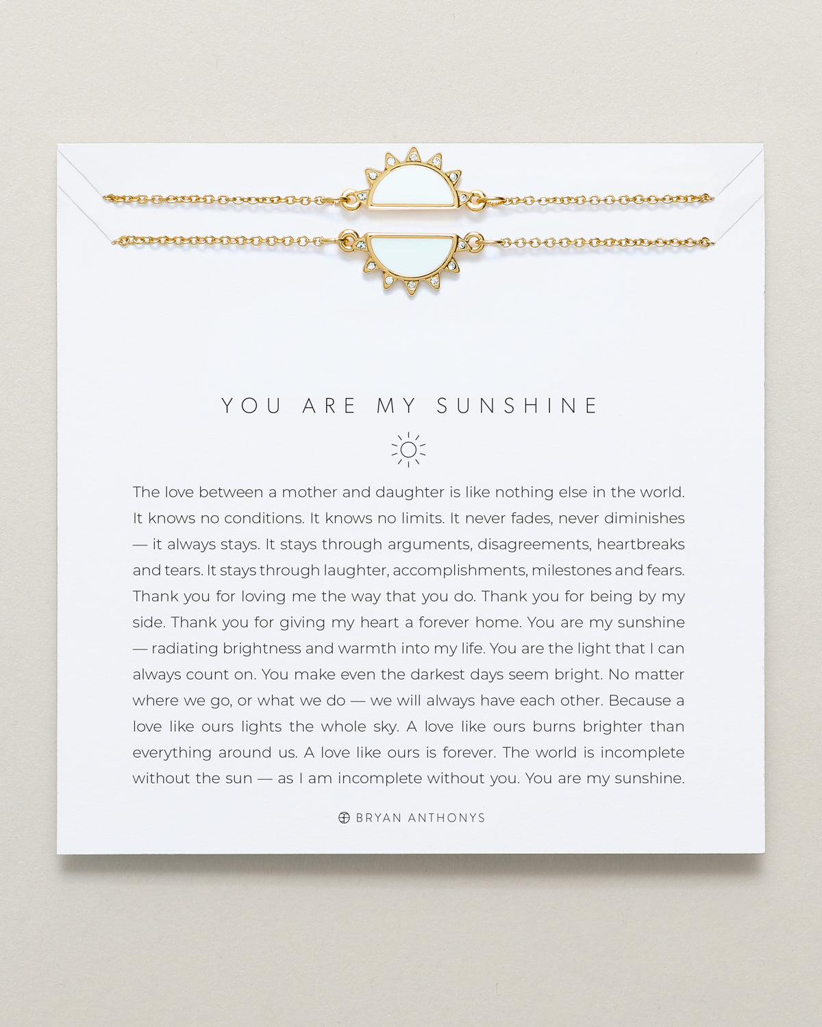 Bryan Anthony's you are my sunshine mother daughter necklace for mothers day