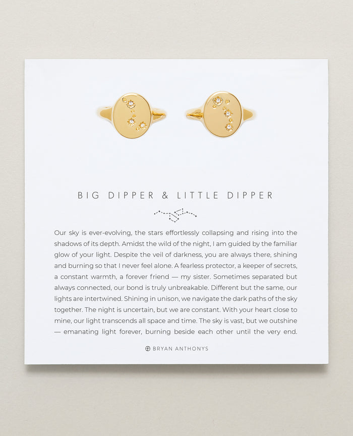 Bryan Anthonys Big Dipper & Little Dipper Gold Signet Ring Set With Crystals On Card