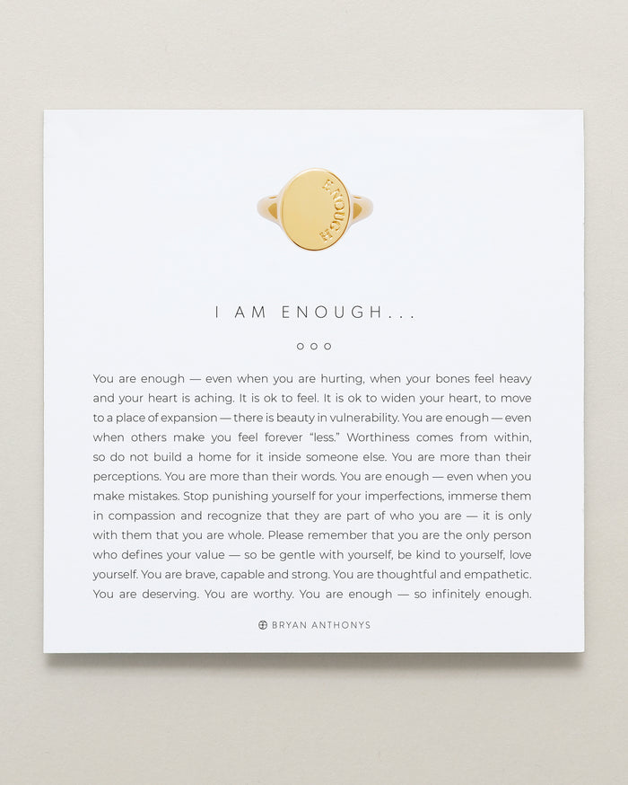 Bryan Anthonys I Am Enough Gold Signet Ring On Card