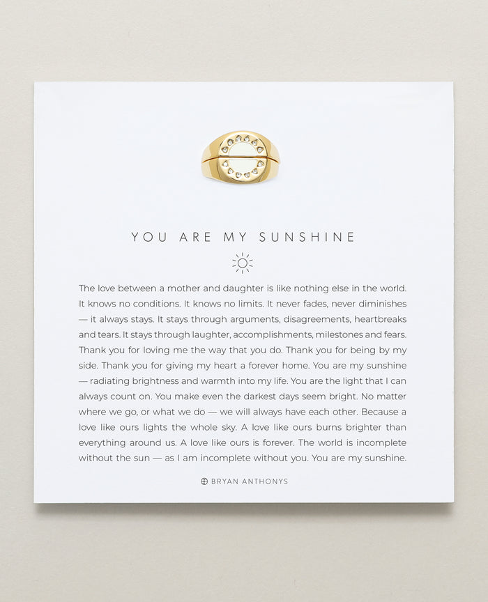Bryan Anthonys You Are My Sunshine Gold Ring Set With Crystals On Card