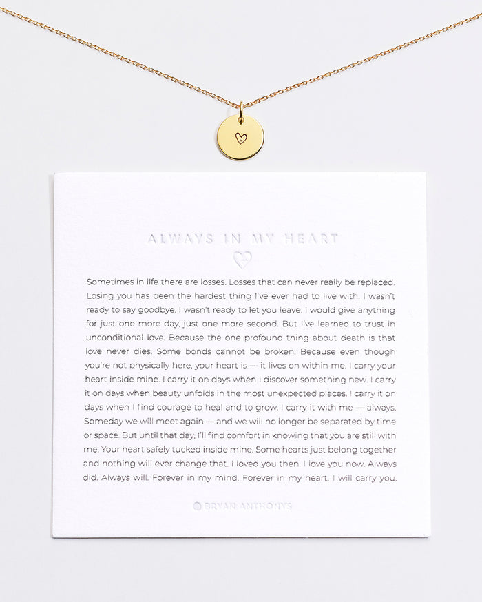 Bryan Anthonys Always In My Heart Symbol Stacker with Necklace Chain On Card Gold Vermeil