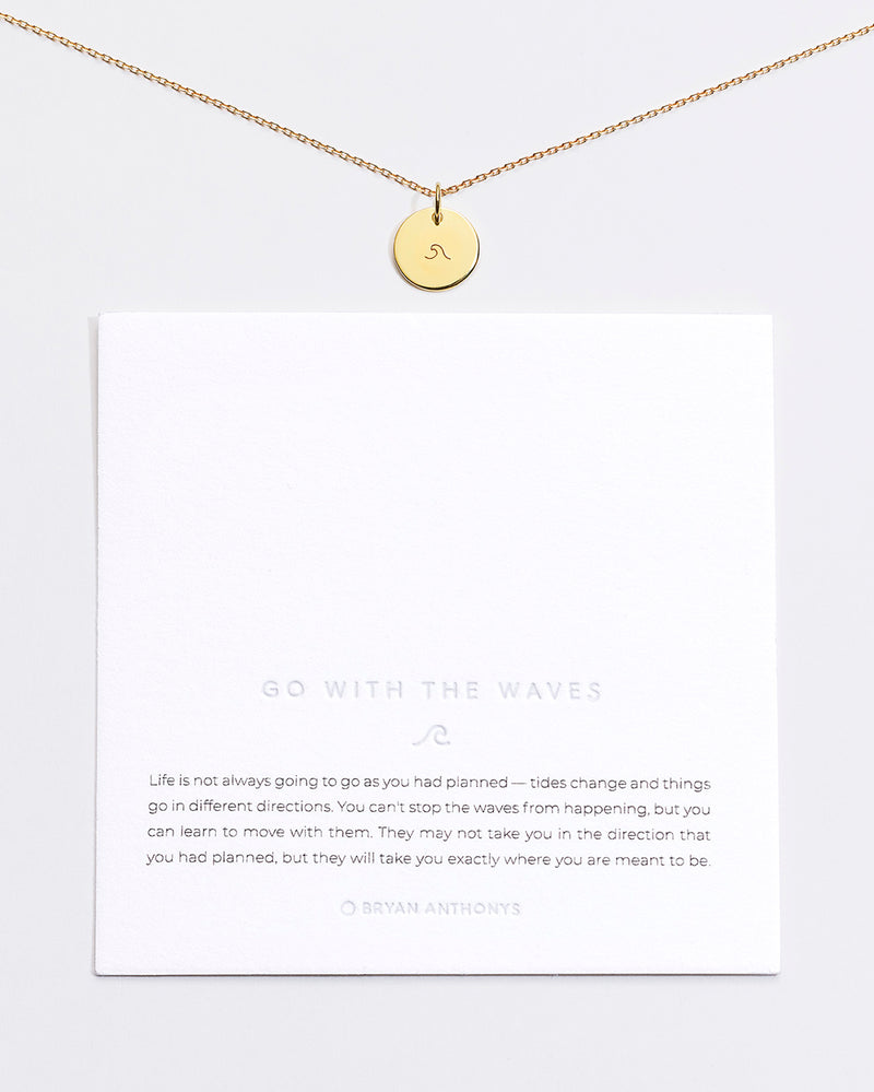 Bryan Anthonys Go with the Waves Symbol Stacker with Necklace Chain On Card Gold Vermeil