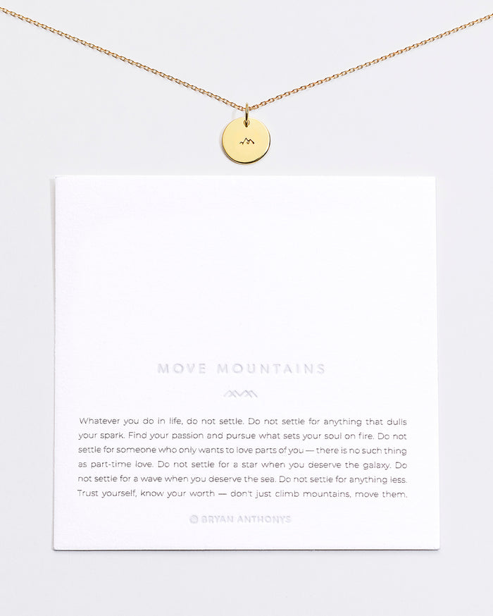 Bryan Anthonys Move Mountains Symbol Stacker with. Necklace Chain On Card Gold Vermeil