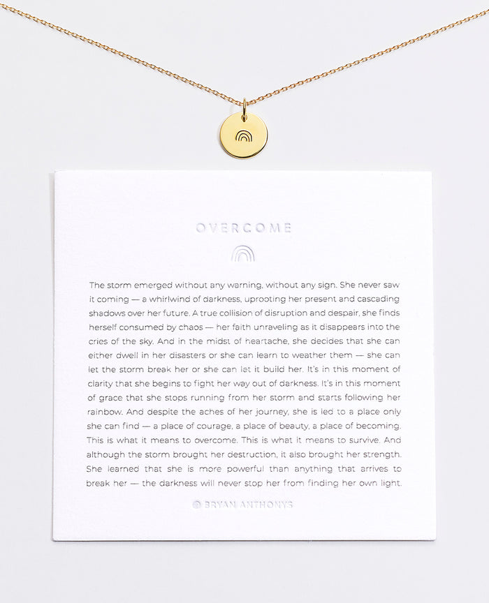 Bryan Anthonys Overcome Rainbow Symbol Stacker with Necklace Chain On Card Gold Vermeil