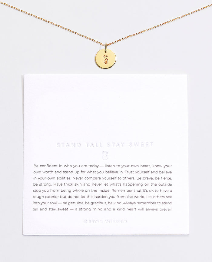 Bryan Anthonys Stand Tall Stay Sweet Pineapple Symbol Stacker with Necklace Chain On Card Gold Vermeil