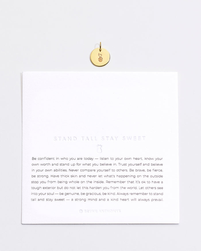 Bryan Anthonys Stand Tall Stay Sweet Pineapple Symbol Stackers Charm On Card Gold Vermeil