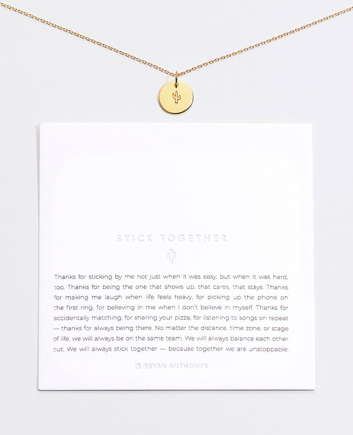 Bryan Anthonys Stick Together Cactus Symbol  Stacker with Necklace Chain On Card Gold Vermeil