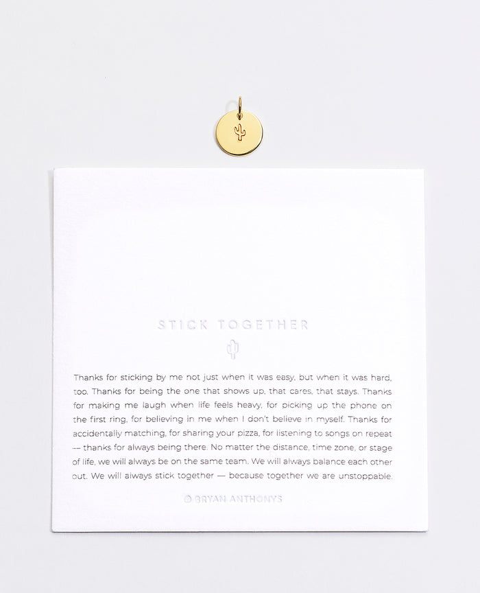 Bryan Anthonys Stick Together Cactus Symbol Stacker Charm  On Card Gold Vermeil
