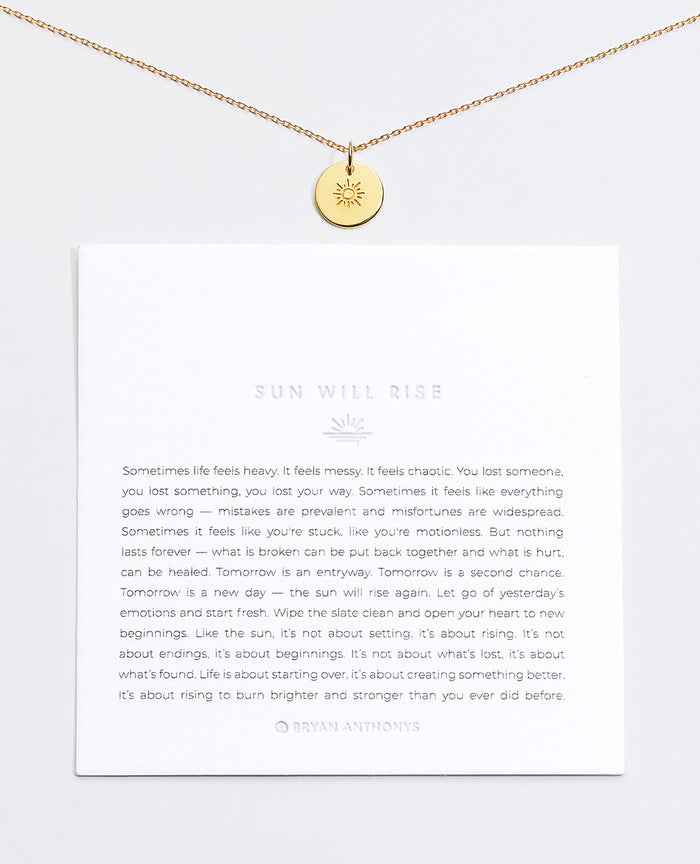 Bryan Anthonys Sun Will Rise Symbol Stacker with Necklace Chain On Card Gold Vermeil