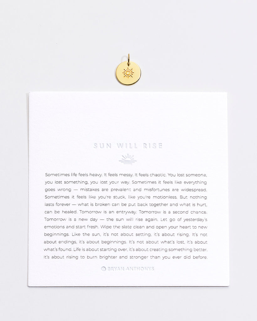 Bryan Anthonys Sun Will Rise Symbol Stackers Charm On Card Gold Vermeil