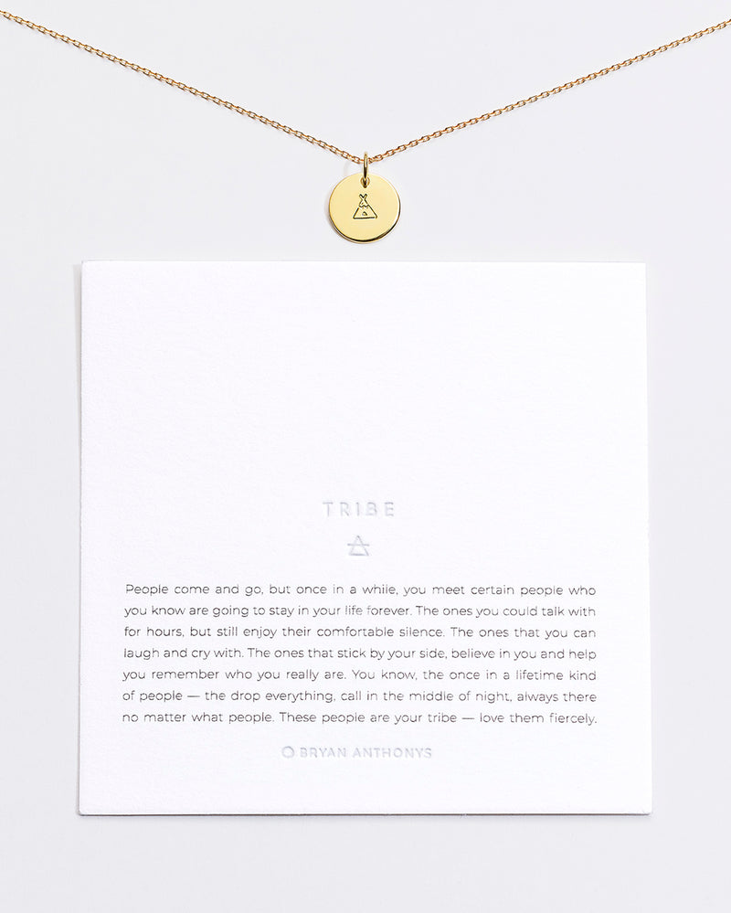 Bryan Anthonys Tribe Symbol Stacker with Necklace Chain On Card Gold Vermeil