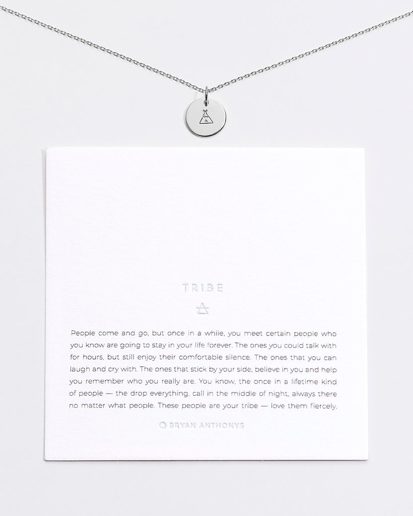 Bryan Anthonys Tribe Symbol Stacker with Necklace Chain On Card Sterling Silver