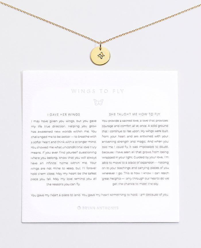 Bryan Anthonys Wings to Fly Butterfly Symbol Stacker with Necklace Chain On Card Gold Vermeil
