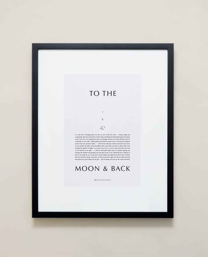 Bryan Anthonys Home Decor Framed Print To The Moon & Back Black Frame w/ Gray 16x20