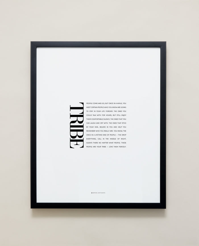 Tribe Editorial Framed Print showcase in black frame