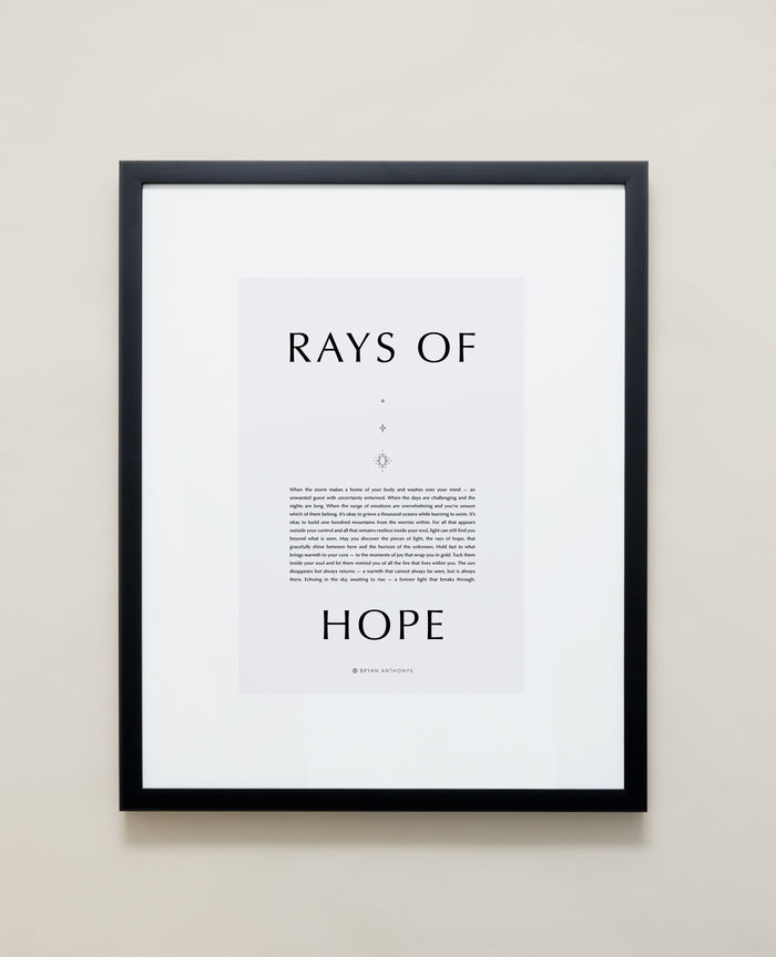 Bryan Anthonys Home Decor Purposeful Prints Rays Of Hope Iconic Framed Print Gray Art With Black Frame 16x20