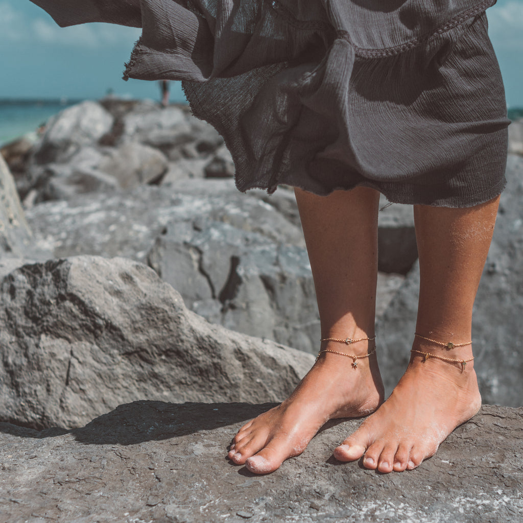 beach collection bryan anthonys anklets layered breathe anklet gold